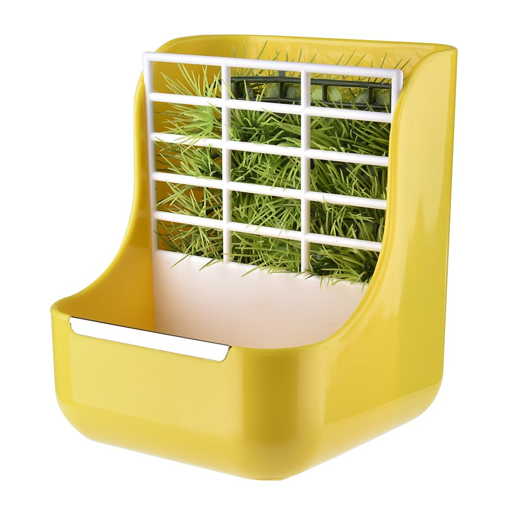 Beatie Pet 2 in 1 Feeder Bowls Grass Frame For Rabbits Cincillà Big Guinea Pigs Food Containers