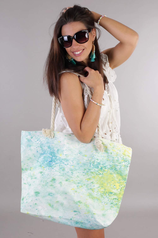styleBREAKER dam XXL strandväska med färgglad pouring fläckar tryck, dragkedja, axelväska, Shopper 02012345 Grön-gul-blå