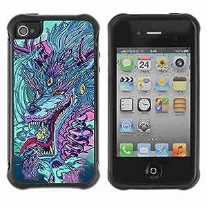 A-type Arte & diseño Anti-Slip Shockproof TPU Fundas Cover Cubre Case para Apple iPhone 4 / 4S ( Japanese Dragon Monster )
