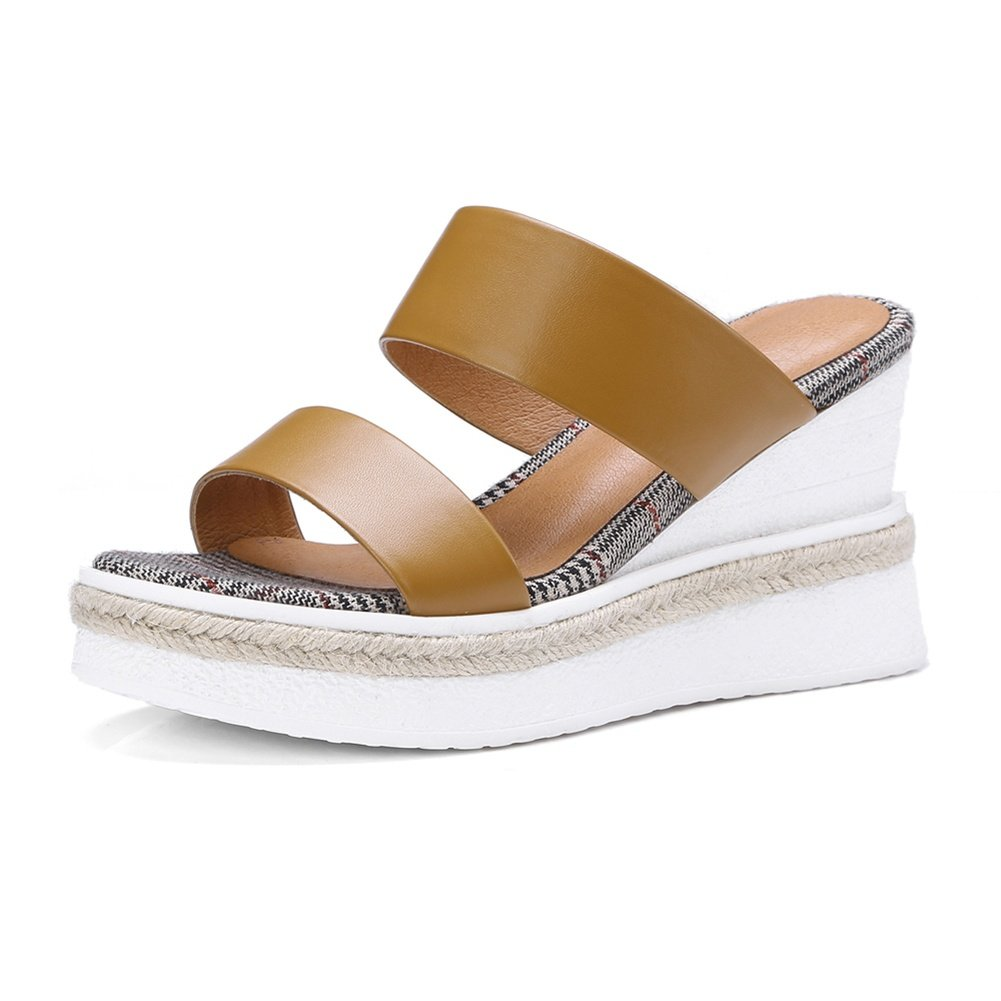 KJJDE Ladies Platform Shoes Chunky WSXY-L07 Wedge Heel Sandals Slipper B07C1VDR3Q 35 M EU Yellow