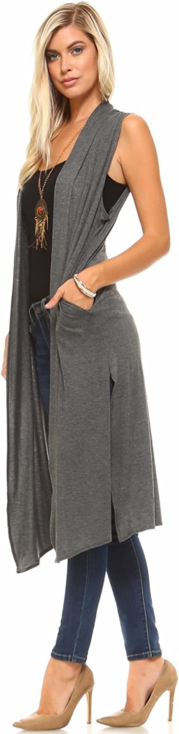 Isaac Liev Womens Long Open Front Cardigan Vest with Pockets and Side Slit