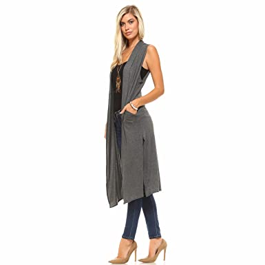 2b88af0ea83c3 Isaac Liev Women s Long Open Front Cardigan Vest with Pockets and Side Slit  (Small
