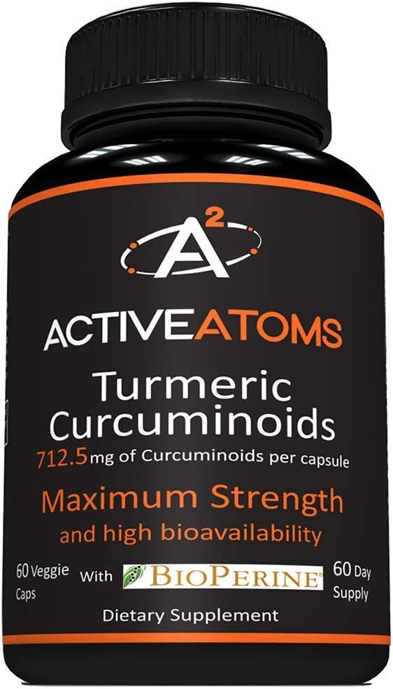 Active Atoms Turmeric – Anti Inflammatory Support – 60 Capsules – Highest Potency Curcurmin, Superior Absorption, Third Party Tested