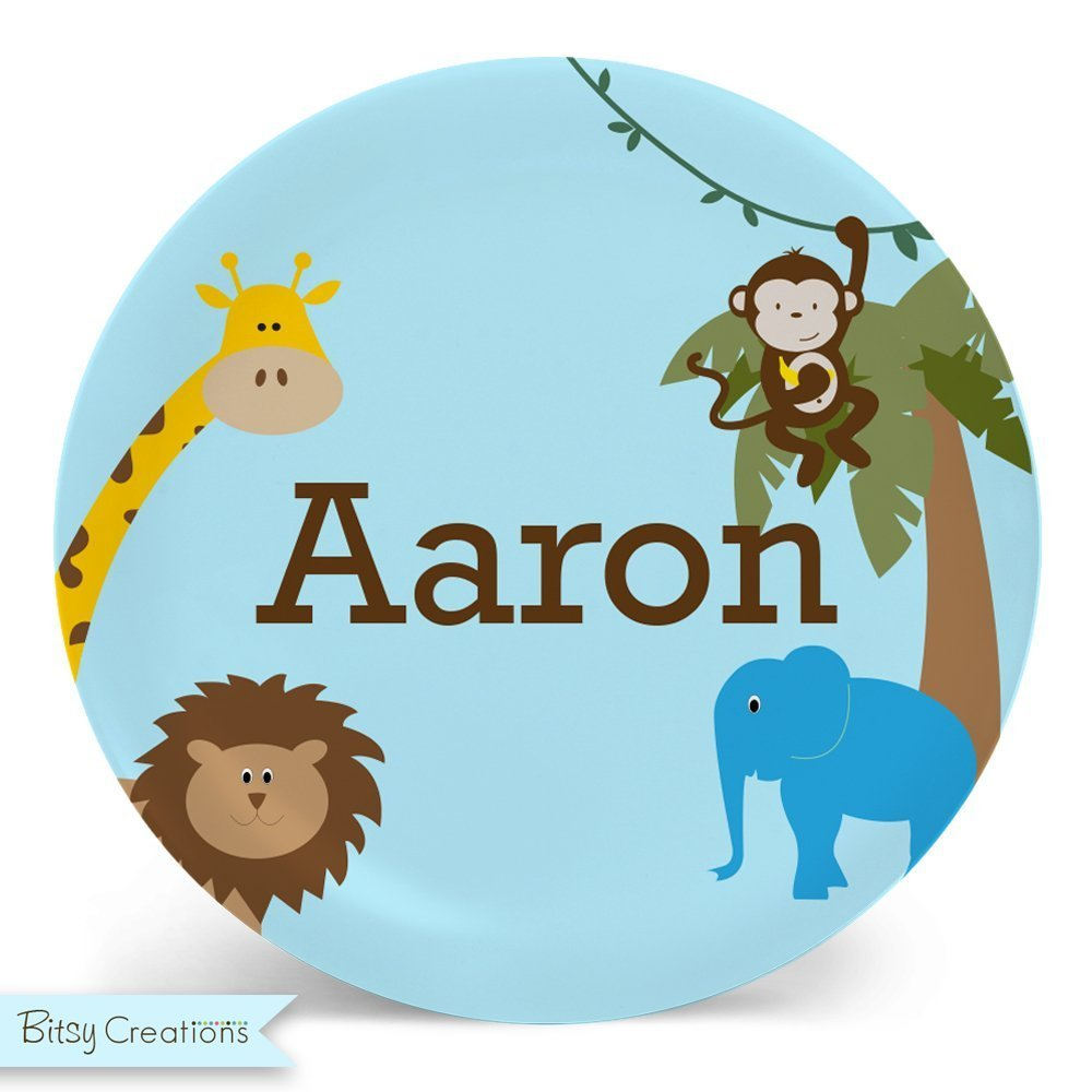 Jungle Animal Plate or Bowl - Custom Personalized with Childs Name
