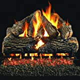 Peterson Real Fyre 24-inch Charred Oak Log Set With Vented Propane Ansi Certified G46 Burner - Variable Flame Remote