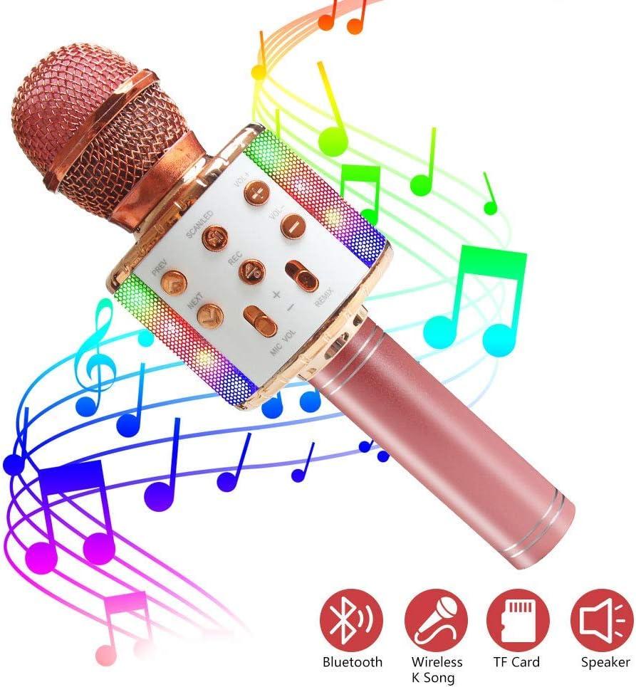 ASENTER Microphone Karaoke Sans Fil Or rose Micro Karaok/é Bluetooth Portable avec LED Lumi/ère Disco pour Enfants//Adultes Chanter Compatible avec Android//IOS//PC//Smartphone