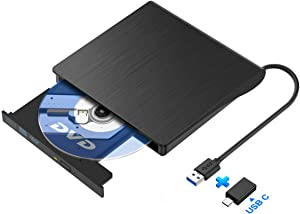 InnOrca - 8X External USB 3.0 DVD±RW Drive, 24x Write/24x Read CD - Writer Drive, Compatible with Laptop Desktop PC Windows Linux OS Apple Mac, USB Type-C Adapter Included