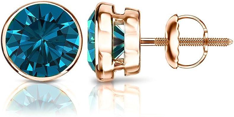 1//6 Ct Blue Natural Diamond 14K Black Gold Over Heart Shape Stud Earrings