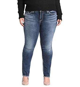 f0a8df51114 Silver Jeans Co. Women s Plus Size Elyse Relaxed Fit Mid Rise Straight Leg