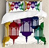 Lantern Queen Size Duvet Cover Set by Ambesonne, Antique Colorful Arabian Lantern Hanging in Sky Traditional Art Design, Decorative 3 Piece Bedding Set with 2 Pillow Shams, Purple Red Yellow Green