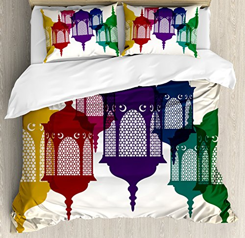 Lantern Queen Size Duvet Cover Set by Ambesonne, Antique Colorful Arabian Lantern Hanging in Sky Traditional Art Design, Decorative 3 Piece Bedding Set with 2 Pillow Shams, Purple Red Yellow Green by Ambesonne