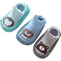 JXUFUFOO 2 Pairs Baby Slipper Socks Anti-Slip Indoor Pre-Walker Shoes 0-24 Months