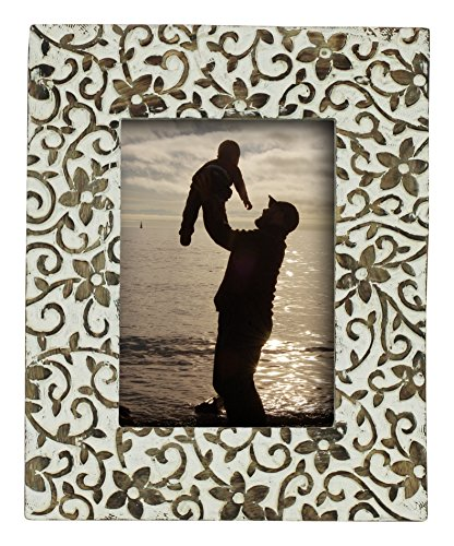 Only 1 Left in Stock - 5x7 Pictures/Photo Frame - SouvNear Wood Frame Shabby Chic Hand Carved White and Brown Washed Photo Picture in Solid Premium Quality Wood - Best Photo Frame Deals - Carved Wood Frame
