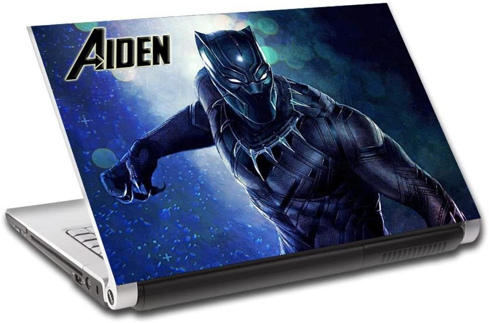 Black Panther Super Hero Personalized LAPTOP Skin Decal Vinyl Sticker NAME L744, 14""