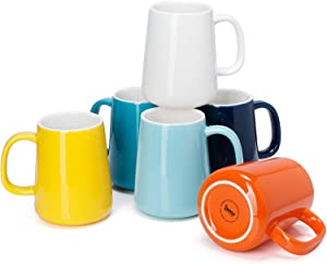 Sweese 610.002 Porcelain Mugs for Coffee, Tea, Cocoa, 14 Ounce, Set of 6, Hot Assorted Colors
