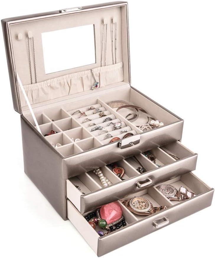 LUNAH Caja de Almacenamiento de Joyas Caja de Almacenamiento de Joyas de Cuero de PU con Espejo y Cerradura Caja de Almacenamiento de exhibición de Joyas para niñas y Mujeres (Color: Oro champán,