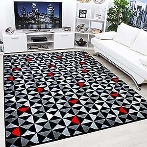 Moderno Y Contemporáneo Negro, Gris, Crema & Rojo Muy Funky Alfombra Extra Grande - 160x225cm