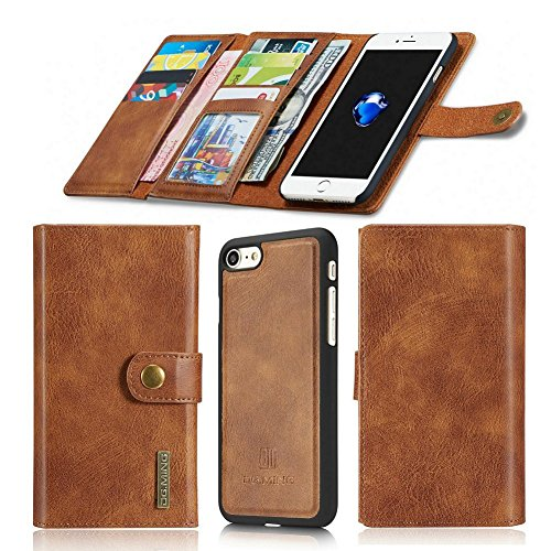 Aiwe Wallet Case Compatible for iPhone 7 Plus – 8 Plus Leather Case Magnetic Detachable Case [15 Slots] 7Plus 8Plus (5.5 inch) Card Holders Luxury Flip Phone Case for Men Women (Brown) For Sale