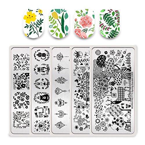 Born Pretty 5Pcs Nail Art Stamping Plates Set Spring Nature Series Flower Animal Garden Manicure Print Image Templates (Pretty Spring)