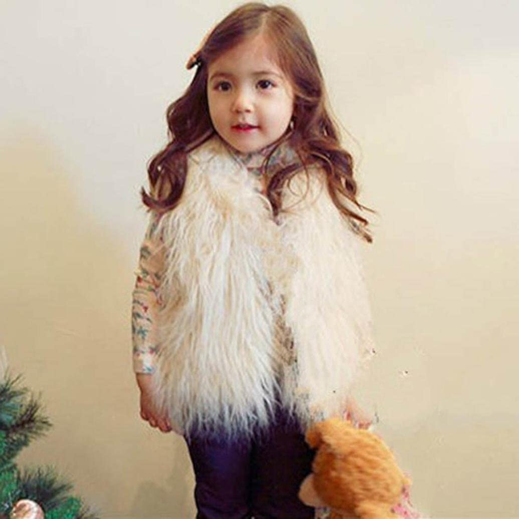 Remiel Store Toddler Baby Girl Autumn Winter Warm Faux Fur Thick Sleeveless Waistcoat Outwear