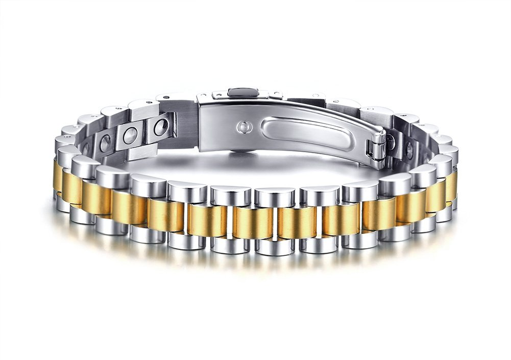 MPRAINBOW Stainless Steel 99.999% Germanium Healthy Body Therapy Healing Cuff Bracelet 20cm+Length Removel Tool