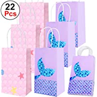 Mukum 22Pcs Party Bags for Mermaid Gift Bags Paper Bags Party Supplies Favors Goodie Bags Glitter Treat Bags for Kids Mermaid Themed Party