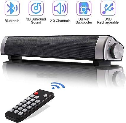 QSPORTPEAK 10W Cine en casa Televisor Barra de Sonido Inalambrica TV Altavoces Portátil Soundbar Altavoz Inalambrico Bluetooth con Micrófono 3.5mm AUX RCA Tarjetas TF, Sonido(Negro): Amazon.es: Electrónica