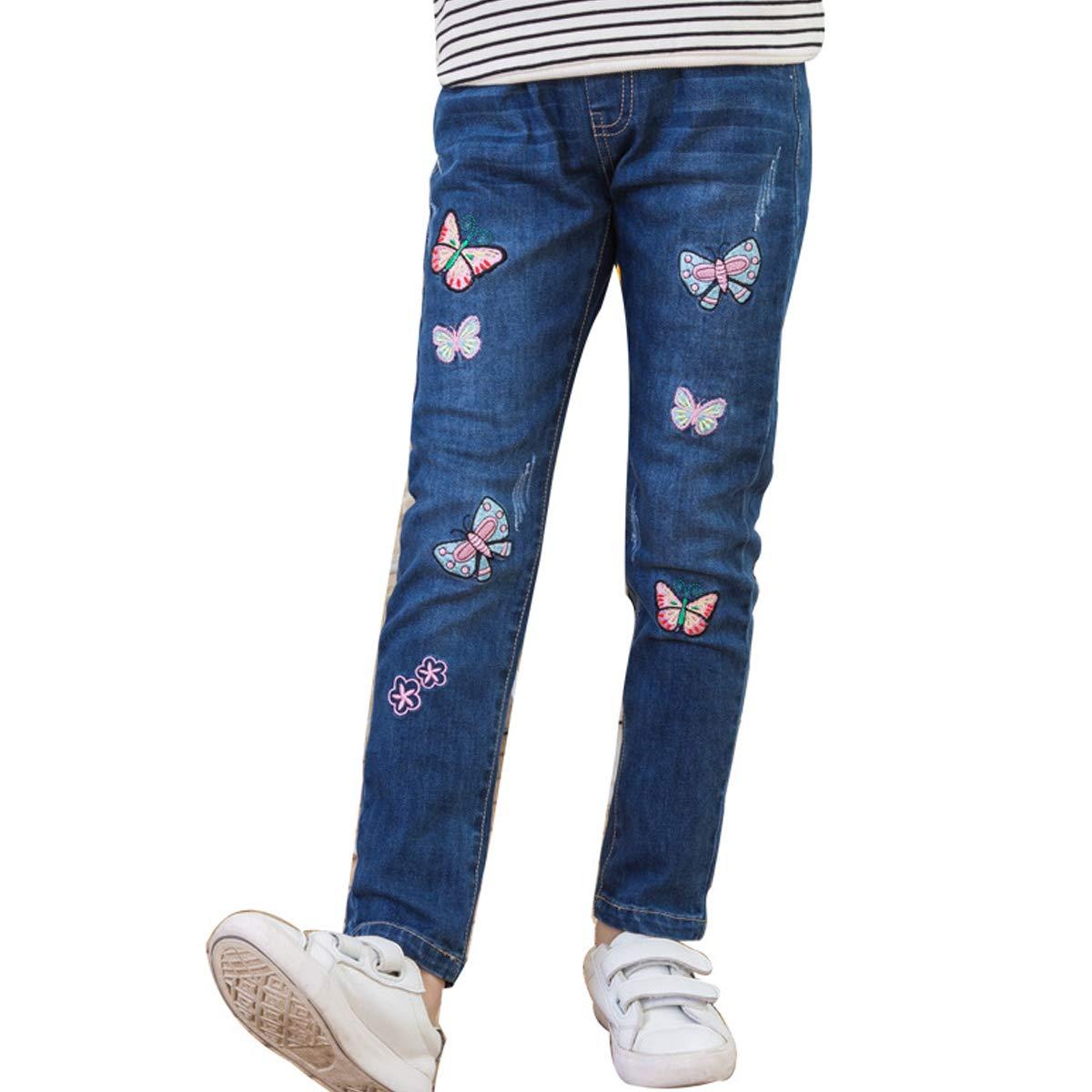 OnlyAngel Girls Denim Pants Butterfly Printed Slim Elastic Waist Jeans Age 4-12 (9-10 Years, Blue)
