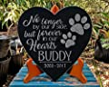 Personalized Pet 10x10 Paw Prints Memorial Stone Heart Shaped WITH STAND Pet Loss Sorrow Remembrance Garden Plaque Gift Indoor Outdoor Dog Cat Grave Marker