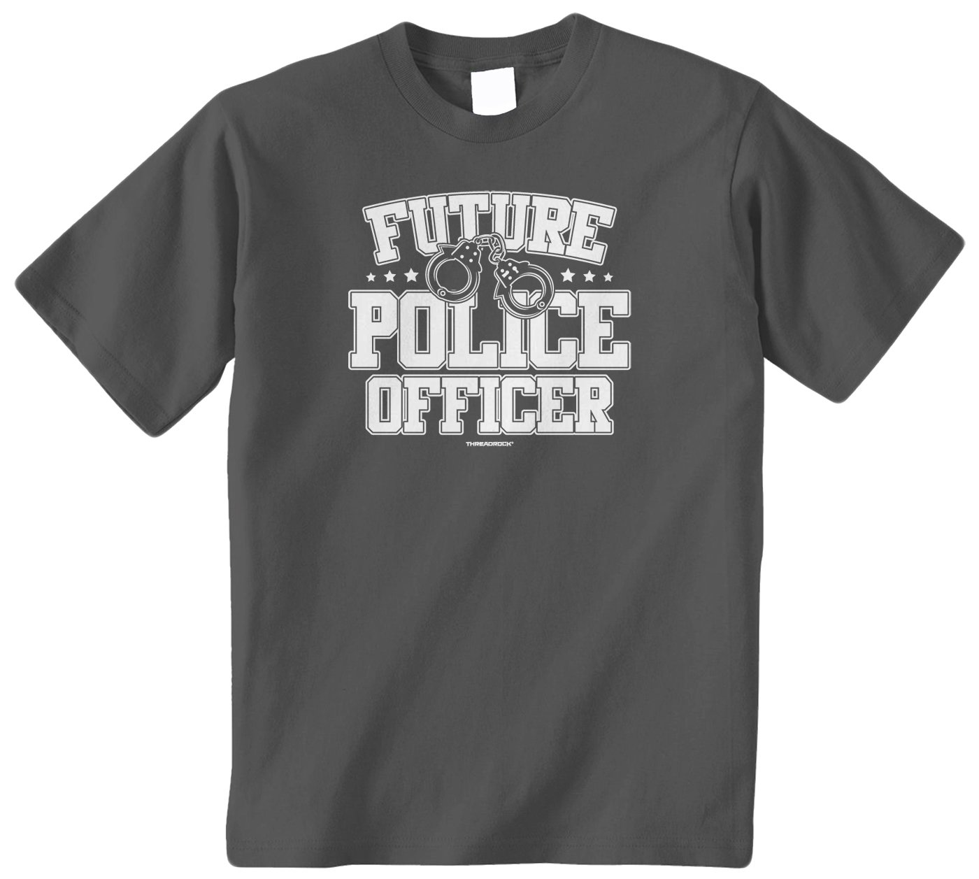 Threadrock Big Boys' Future Police Officer Youth T-Shirt XL Charcoal