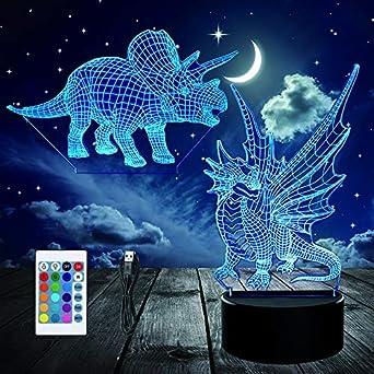 Dinosaures 3D Veilleuse Lampe LED optique Illusion T-rex And Velociraptor4 Cadeaux parfaits pour Enfant Chambre No/ël Cadeaux danniversaire 7 couleurs avec C/âble USB Lampe de table