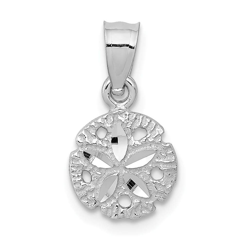 Black Bow Jewelry 14k White Gold Small Diamond Cut Sand Dollar Pendant 5//16 Inch 8mm