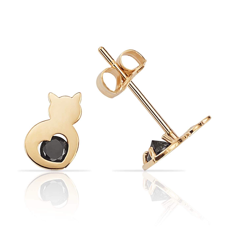 78026b2e95d Amazon.com: Cute 14K Yellow Gold Cat Stud Earrings with Black CZ ...