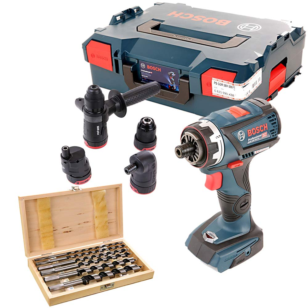 Bosch GSB18V-60 FC Brushless Combi Drill with L-Boxx & 6Pc Auger Drill Bit Set