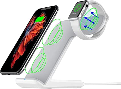 Maxjoy Wireless Charger Compatible iWatch, 2 in 1 Wireless Charger Stand, Qi Fast Wireless Charger Dock Compatible for iWatch iPhone Xs/X /8 Samsung ...