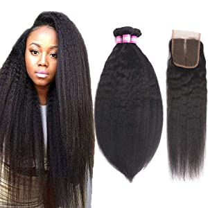 "Odir Brazilian Kinky Straight Hair 3 Bundles with Closure(14"" 16"" 18"" + 12"" Middle Part) Yaki Human Hair Weave Unprocessed Brazilian Virgin Human Hair Bundles with Closure Natural Color"
