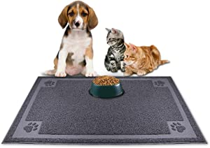 KITAINE Pet Dog Food Mat for Dogs Cats Waterproof Large XL Dog Mats for Food and Water Bowls Dishes Feeder Easy to Clean Cat Dog Mats Non-Slip for Home Floors (24''16'', Grey)