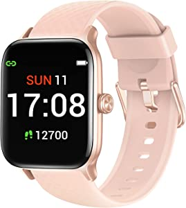 Letsfit Smart Watch Compatible with iPhone and Android Phones, Fitness Tracker with Heart Rate Monitor, Sleep Monitor & Blood Oxygen Saturation, 5ATM Waterproof Smartwatch for Women Men-Pink