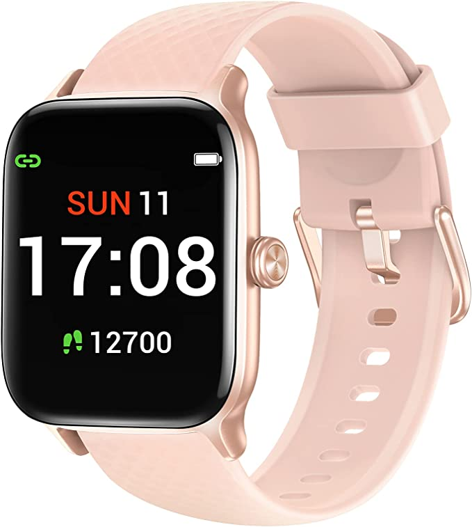 Letsfit EW1 Smart Watch Compatible with iPhone and Android Phones, Fitness Tracker with Heart Rate Monitor, Sleep Monitor & Blood Oxygen Saturation, 5ATM Waterproof Smartwatch for Women Men-Pink | Amazon