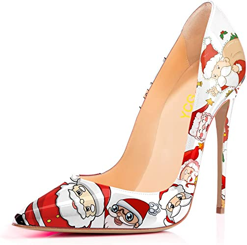 Womens High Heels Pumps Red Blood Printing Slip on Shoes