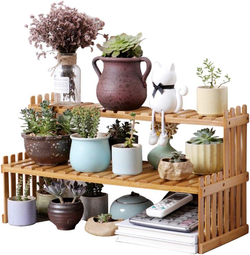 ODOMY - Soporte para plantas de madera para exterior e interior, escalera de plantas con 2 estantes, soporte para maceta de flores decorativo, puerta para balcón, terraza, salón o jardín