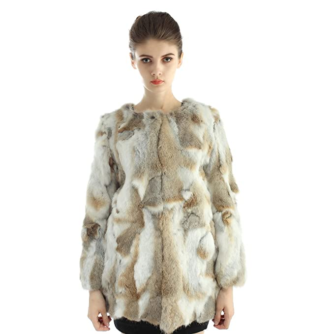 JOUR NUIT Womens Pieces Real Rabbit Fur Coat Round Collar Outerwear at Amazon Womens Coats Shop