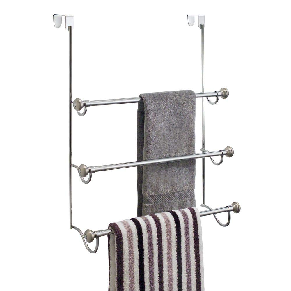 iDesign York Over the Shower Door Towel Rack for Bathroom, 1.5'' x 7'' x 22.8'', Chrome/Brushed by iDesign