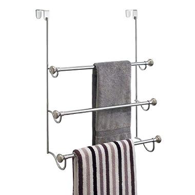 interDesign York Over the Over the Shower Door Towel Rack for Bathroom, 1.5  x 7  x 22.8 , Chrome/Brushed