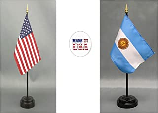 Made in The USA. 1 American and 1 Argentinian Rayon 4'x6' Office Desk & Little Hand Waving Table Flag, Includes 2 Flag Stands & 2 Small 4x6 Mini Stick Flags