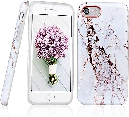 iPhone 7 Coque, ANCREU Etui Housse en TPU Imprimer Silicone Soft Case Arriere avec Marbre Back Cover Ultra Mince Shell de Protection Anti-Choc Bumper ...