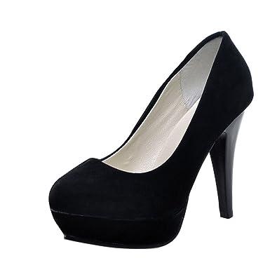 Fashion Women/'s Suede Round Toe High Stilettos Heels Platform Pumps Shoes Size
