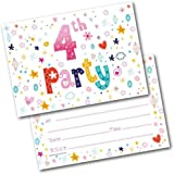 4th birthday party invitations pink sparkly design and photo