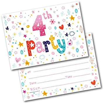 4th Birthday Party Invitations Age 4 Female Girls Childrens Pack Of 20 Invites