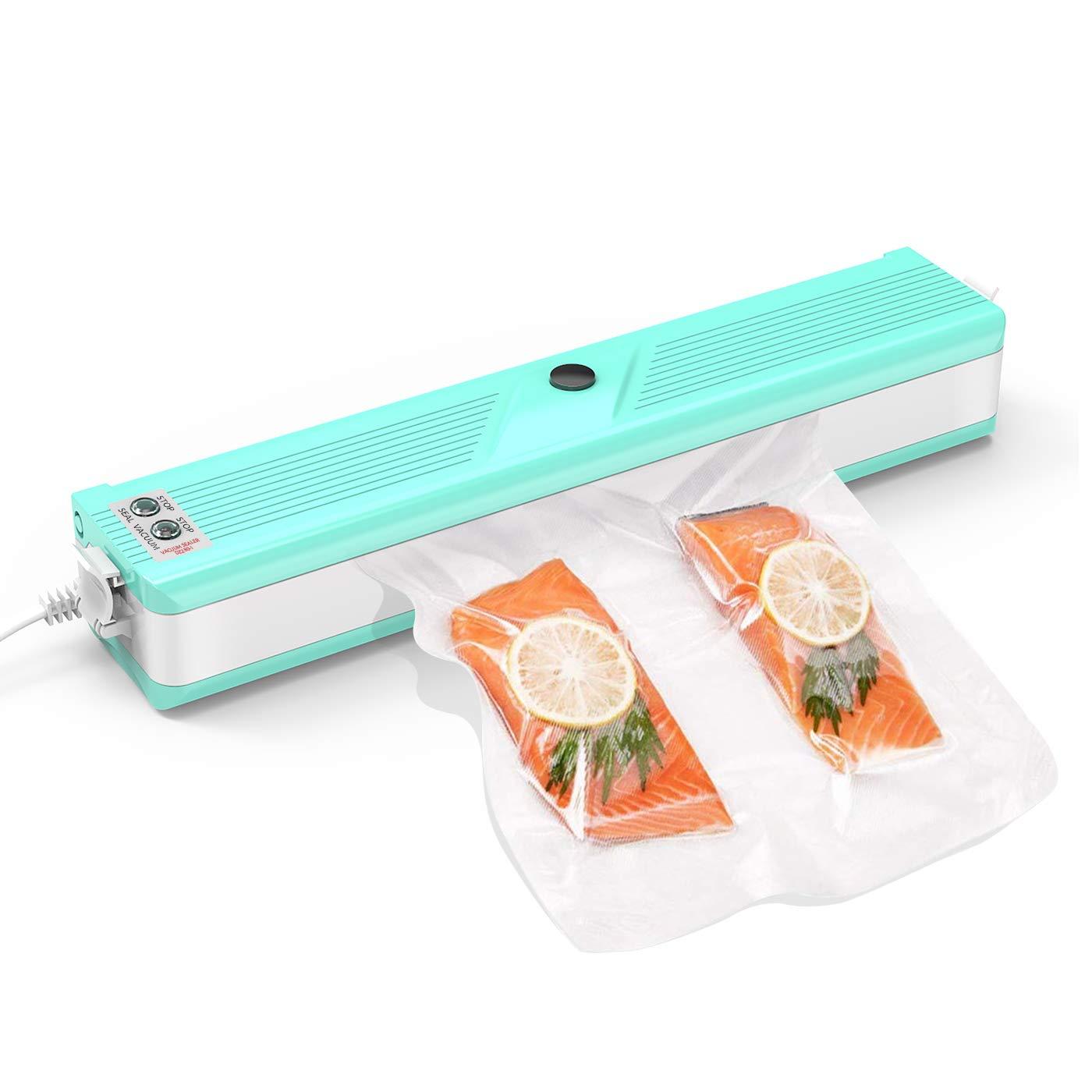 ERAY Machine Sous Vide Automatique/Manuel, Appareils de Mise Sous Vide pour Aliments/Viandes / Légumes/Fruits, Scellant à Vide avec 10 Pièces Sacs à vide - Menthe Verte